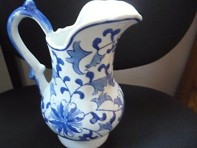 Porcelain Chinese Jug with blue floral motifs blue & white in very good cond
