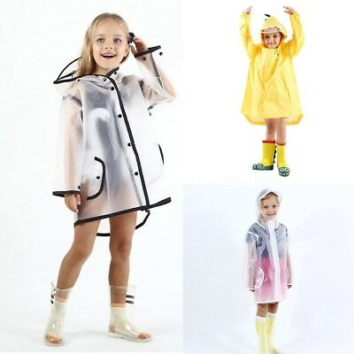 Fashion Kids Boy Girl Raincoat Jacket Rainwear Cap Hat Slicker Waterproof Coat