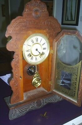 Ansonia Clock. Genuine Antique Cottage Clock. Keeps Perfect Time. Key Included.