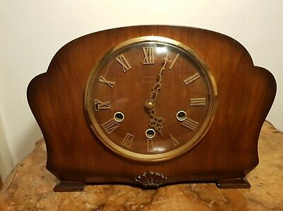 A Beautiful Condition Vintage Smiths Art Deco All Carved Mahogany Mantel Clock