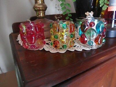 VINTAGE RETRO  COLOURED BUBLE GLASS CANDLEM/ TEA LIGHT , HOLDERS``Set of 3