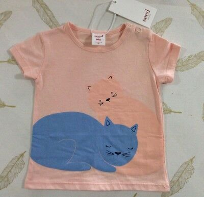 Seed Baby Girls T Shirt Cats 3-6 Months 00 New