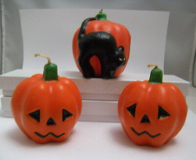 "Vintage Three Gurley Halloween Pumpkin Candles ... Early's 60's   2.75"" to 3"""