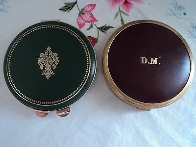 Two vintage compacts, faux leather tops - Unusual, unbranded