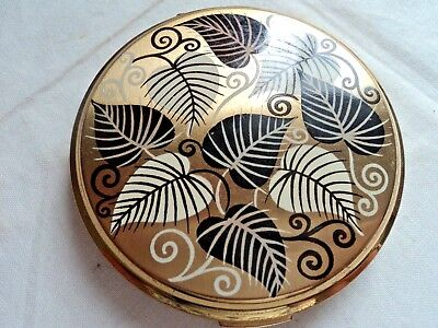 Vintage Stratton convertible powder compact - goldtone with leaf pattern 1950's