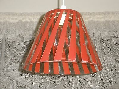 Vintage RETRO Clear / RED Stripe GLASS LIGHT SHADE Very Good Condition