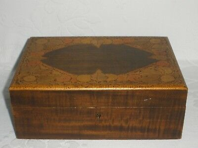 Vintage POKERWORK BOX LEAVES AND BERRIES Good Condition