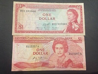 East CARIBBEAN $1 Banknotes Vintage x 2 - As pictured.