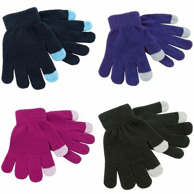 2 Pack Boys Girls Kids Childrens Thermal Touch Screen Stretch Magic Gloves GL095