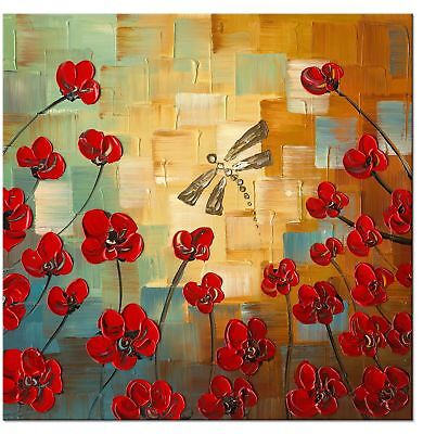 Wieco Art Dragonfly Extra Large Modern Flowers Artwork 100% Hand Painted Gall...