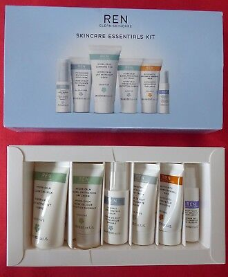 Ren Skincare Essentials Kit Travel Size New Cleansing,day & Night Cream & More