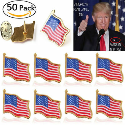 Pack of 50 American USA Flag Lapel Pin United States USA Hat Tie Tack Badge Pin