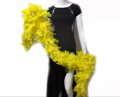 150G High Quality Thick Yellow Feather Boa Fancy Dress Luxury Burlesque 1.9M
