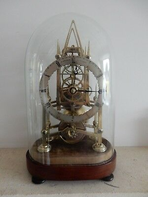 A Fine Small Fusee Skeleton Clock by Savory of London c1845 Original Base & Dome