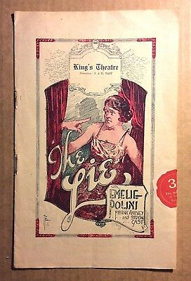 1922 KING'S THEATRE programme THE LIE - ads for Melbourne