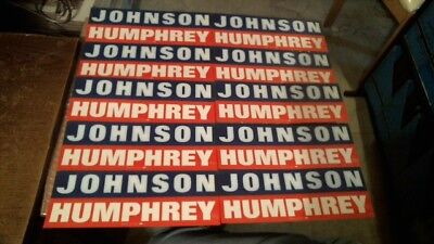 "10 Original Vintage Unused ""johnson - Humphrey"" Campaign Bumper Stickers Lot"