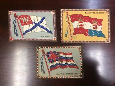 """Lot 54: 1910s B? Felt Blanket Tobacco Flags Group of 3 very large 7 1/2 """" x 11 """""""