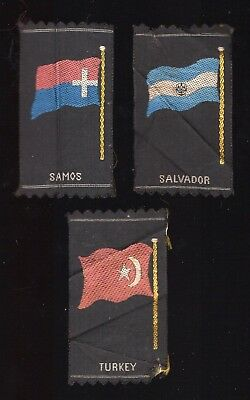 Lot 60: 1910s S39 Flags Arms type 2 group of 3 silk tobacco (small woven)