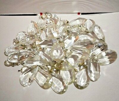 Huge Lot Vintage Chandelier Light Glass Crystal Prisms