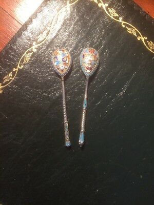 Two Russian84 Silver Enamel tea Spoons 27.9 grams together/4.25 Inches Each