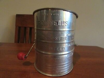 Vintage Bromwell's tin crank style 3 cup flour sifter w red wood knob NICE