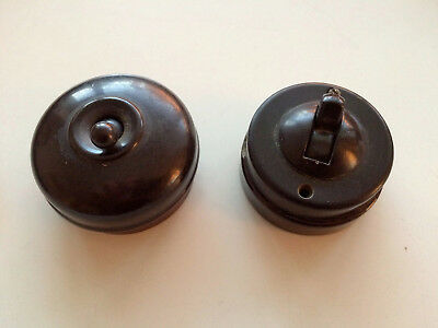 Two brown Crabtree bakelite light switches good condition, retro, vintage