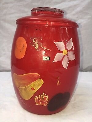 Vintage Bartlett Collins Cookie Jar Red Glass Hand Painted Flowers Fruit W Label