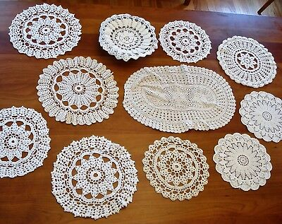 Vintage Lot of 11 Doilies, Assorted Sizes Patterns One Bowl Cover Some Matching