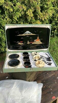 Beautiful Vintage Rare Black Chinese Oriental Decorative Tea Set In Box *
