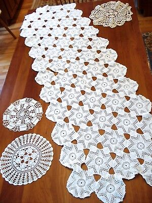 """Vintage Large White Cotton Hand Crocheted Runner 22"""" x 68"""" + 3 Doilies"""