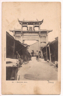 c1908 POSTCARD CHINA MEMORIAL ARCH AMOY  RARE PC