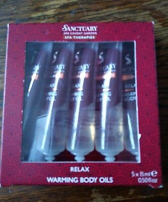 Sanctuary spa spa therapies 5x15ml relax warming body oils new  .