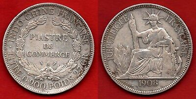 French Indo-China : Genuine 1 Piastre 1908 Colonial Silver Coin Argent 27 Grams