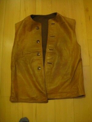 WW2 British Army military vintage leather waistcoat jerkin wool lining lg size
