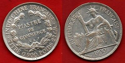 French Indo-China : 1 Piastre 1900 Colonial Coin NO SILVER 25,5 Grams