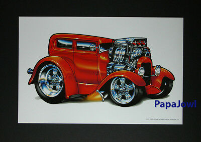 "(4) Hot Rod Ford Muscle Machines Prints Art Drawn By Rohan Day 11"" by 17"""
