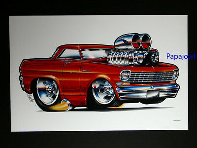 """(6) Street Beasts Muscle Machines Prints Art Drawn By Rohan Day 11"""" by 17"""""""