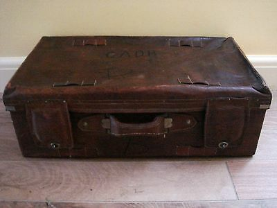 Amazing  Leather Unrestored Antique Suitcase.