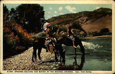 Apache Indian stops for water Rio Navaho Arizona ~ Fred Harvey  postcard
