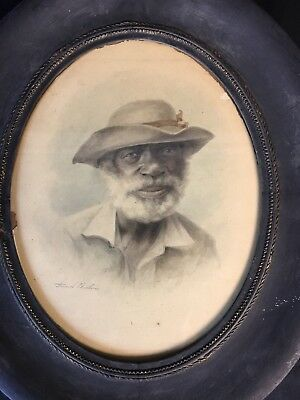 RARE AFRICAN AMERICAN ANTIQUE 19th CENTURY WATERCOLOR PAINTING PORTRAIT SIGNED!