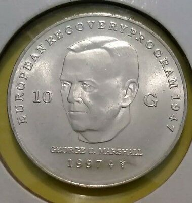 NETHERLANDS Silver 10 GULDEN 1997 George C. Marshall Uncirculated