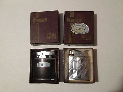 Lot of 2 Good RONSON Lighters with Original Boxes NICE!