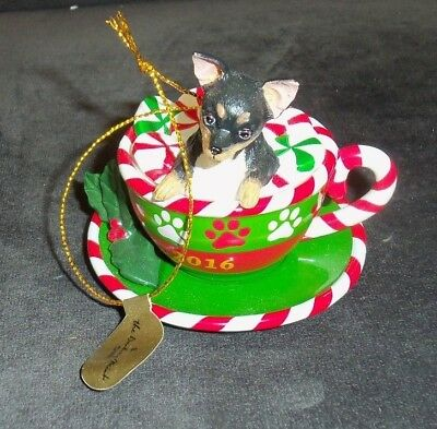 COLLECTIBLE~DANBURY MINT THE 2016 ANNUAL CHIHUAHUA ORNAMENT Holiday Tea Cup