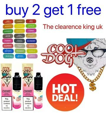 10ml COOL DOG E Liquid Vape Juice Oil Shisha Refill TPD Cig UK BUY 2 GET 1 FREE