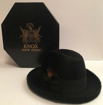 Vintage Charles KNOX Men's Black Canadian Beaver Hat Size 7 RARE New York w/ Box