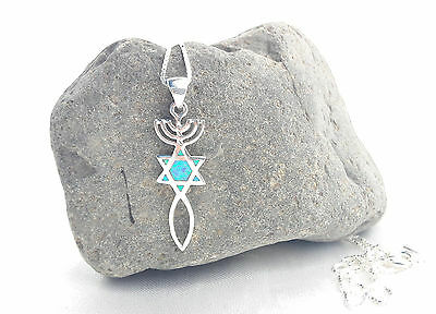 Sterling Silver 925 necklace&pendant Menorah Star David&Fish Opal.Messianic Seal