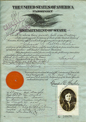 Cancelled 1922 USA Passport signed Charles Evans Hughes