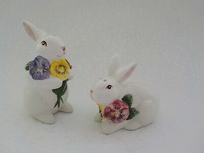 Bunny Rabbit Salt and Pepper Shakers Flowers Neck Taiwan Ceramic Pansy Easter