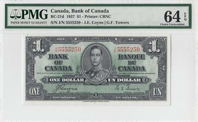 1937 BANK OF CANADA KGVI $1 **Coyne & Towers** (( PMG 64 EPQ ))