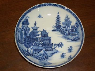 "Chinese Blue & White Porcelain 13.8Cm ""riverside Village"" Saucer, C.1760, A.f."